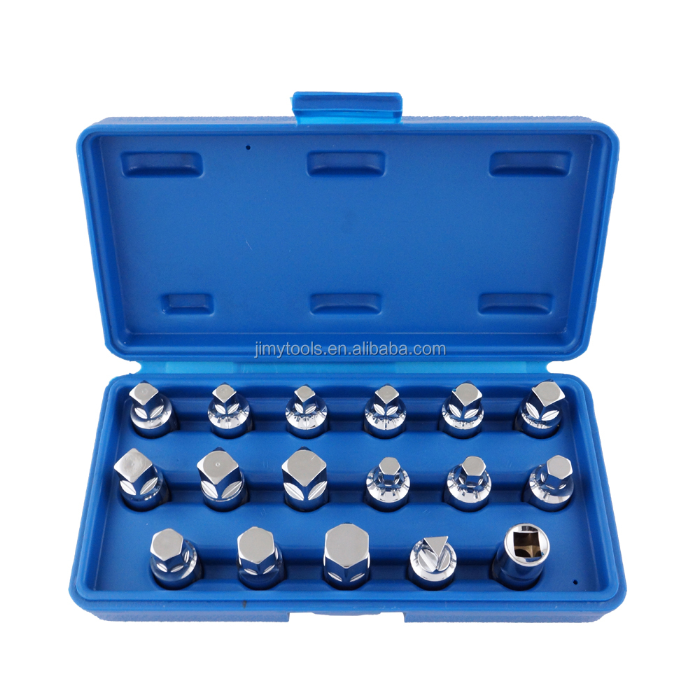 "Jimy 17 Piece 3/8"" Drive Drain Plug Socket Set"