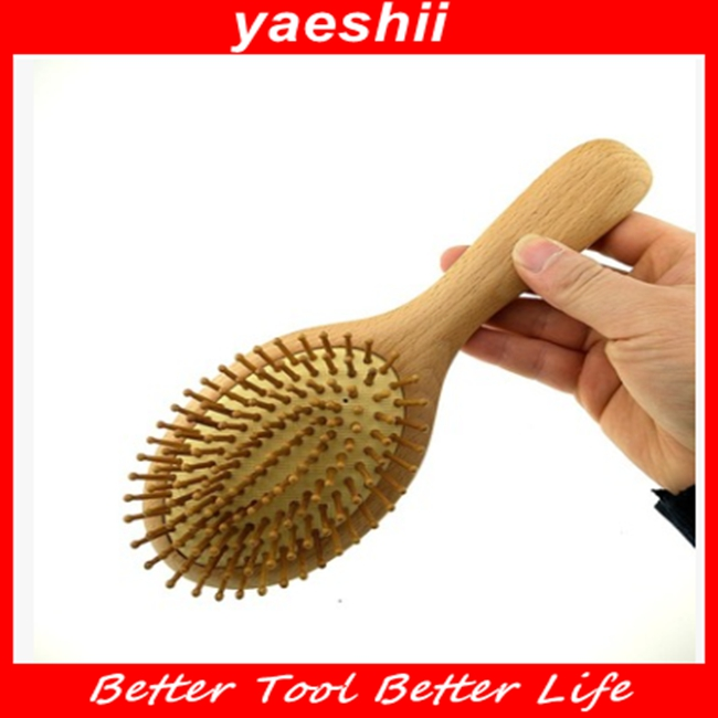 YAESHII Olive Wood Anti Static Hair Brush With Long Wood Pins