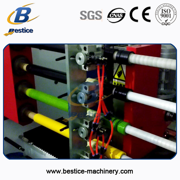 4 shafts pvc adhesive tape roll cutting machine with cutting supporter