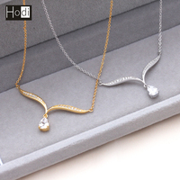 2017 Trendy Unique Fashion Jewelry Handmade AAA Grade Big Stone 18K Simple Gold Chain Necklace Designs for Women