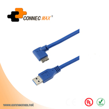 USB 3.0 A-Male to Right Angle Micro-b 9-Pin Data Cable with Screws Lock to Panel