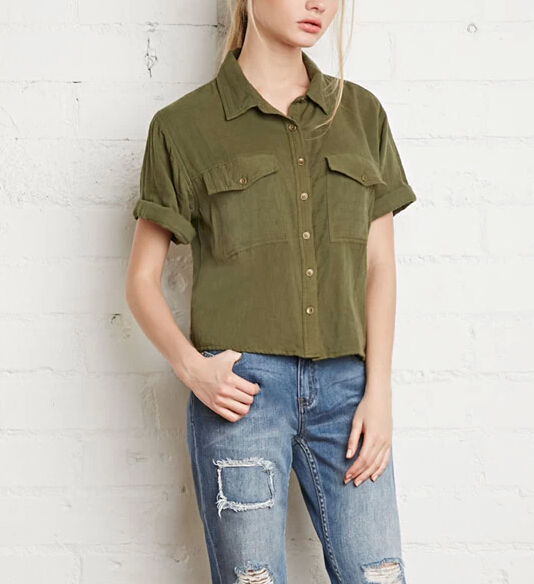 Young Lady Olive Custom Made Short Cuffed-Sleeve Boxy Shirts