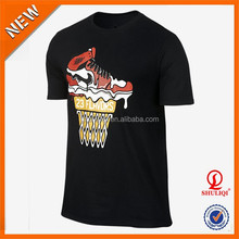 Shoes Printed Cotton Rounded Hem T Shirt /Silk Screen PrintingT Shirt Printing Machine Wholesale Made In Guangdong
