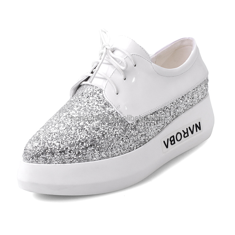 Women white leather lace up glitter cap split joint Polyurethane outsole sports shoes big size casual sneaker