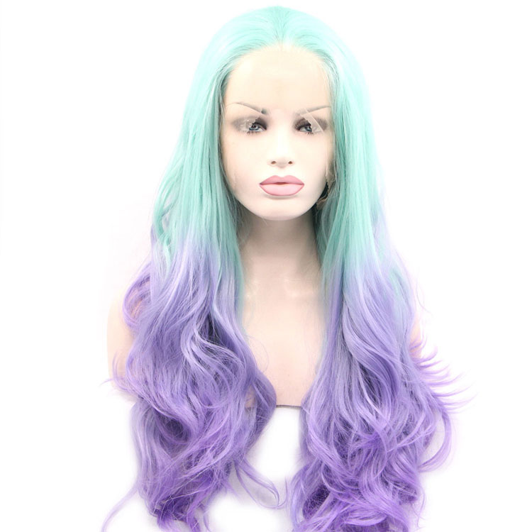 New Design Ombre Light Green and Light Purple Color Long Curly Wave Synthetic Hair Lace Front Wigs for Women