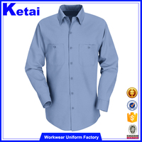 35%Cotton 65%Polyester office blue mens dress shirt in bulk