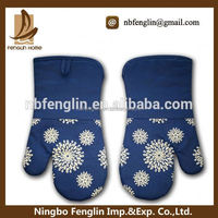 Blue Cotton Heat Resistant Kitchen Cooking New Pattern Silicone Coated Wholesale Oven Glove