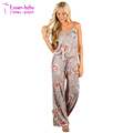 Plus Size Casual Loose Fit Floral Print Cami Beach Jumpsuit