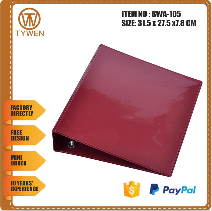 BWA-105 hot sell wholesale 3 hole ring binder PVC document folder with transparent holder