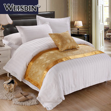 Guangzhou factory duvet cover quilt cover custom jacquard 100% polyester hotel bedding decorative bed runner
