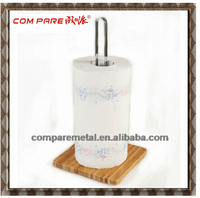 Useful ! Stainless Steel and Metal Toilet Tissue Holder with wooden base