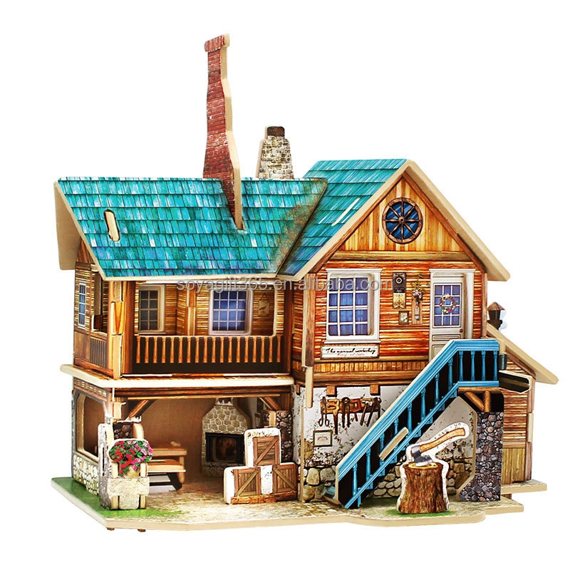 European style House Wooden Simulation Model Jigsaw Puzzle Children Toys