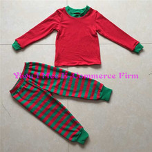 Wholesale 100% Cotton Children Christmas Pajamas Trendy Toddler Girls Red Green Stripe Christmas 2 pcs Outfit Sets IM-CSL219