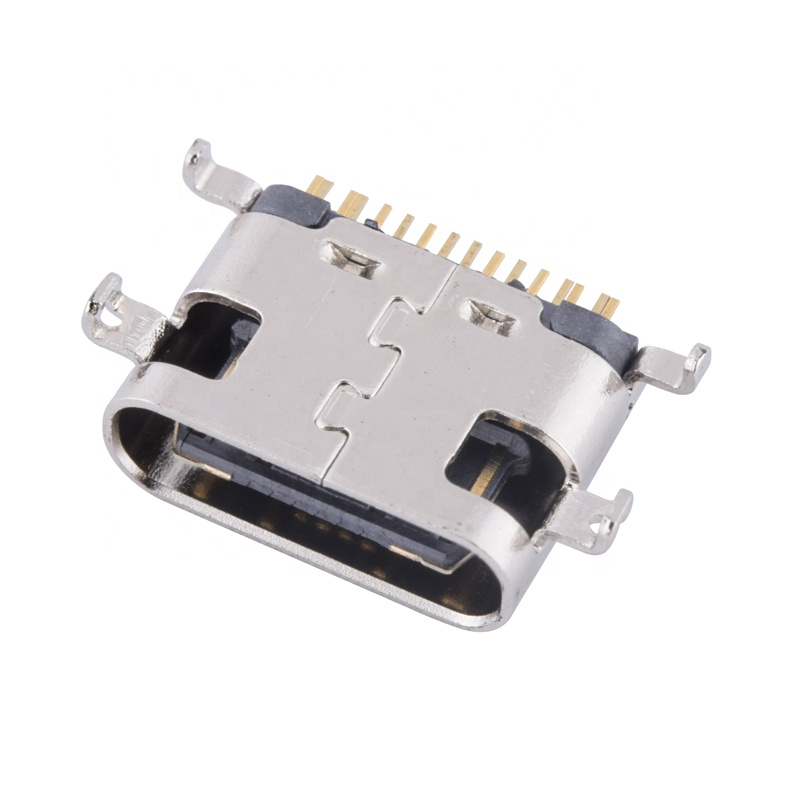 16-Pin Type-<strong>C</strong> Sinking USB Connector Quick Charger SMT Female USB Port Connector <strong>0</strong>.8mm