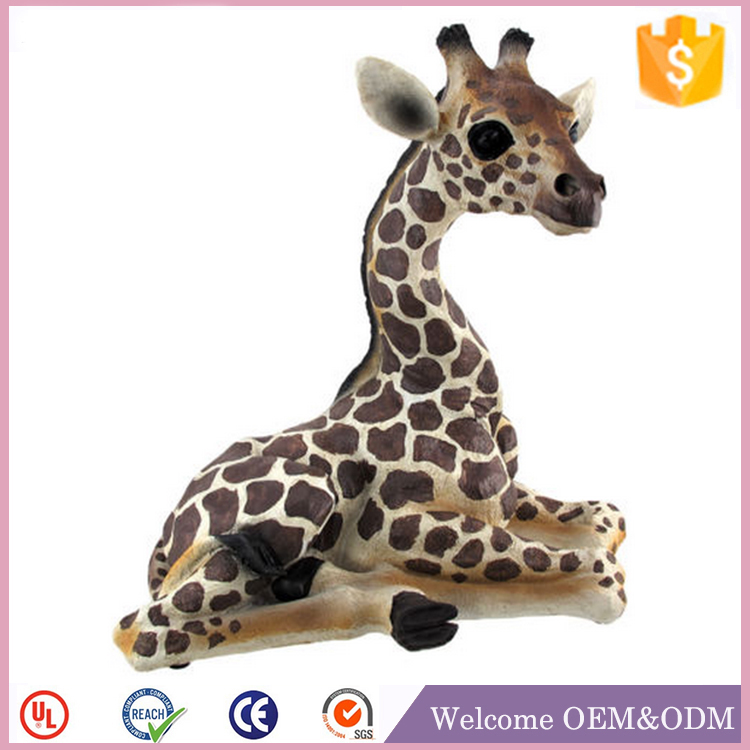 Home decor Lounging resin Baby giraffe collectables Statue