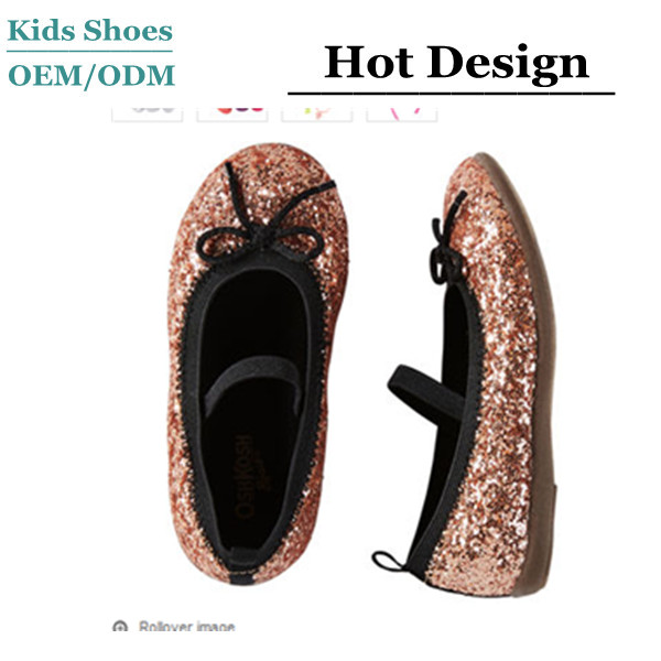 100% man-made materials Kid Casual Shoes Shoestring bow Slip-on Style Sparkle Flats Student Shoes Coated glitter girls shoes