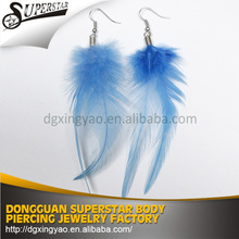 Comfortable feather earrings stud jewelry beads