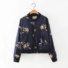 ladies fashion bomber jacket with embroidery