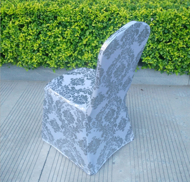 Banquet Spandex / Polyester Metallic Stretch Chair Cover For Wedding Home Decoration