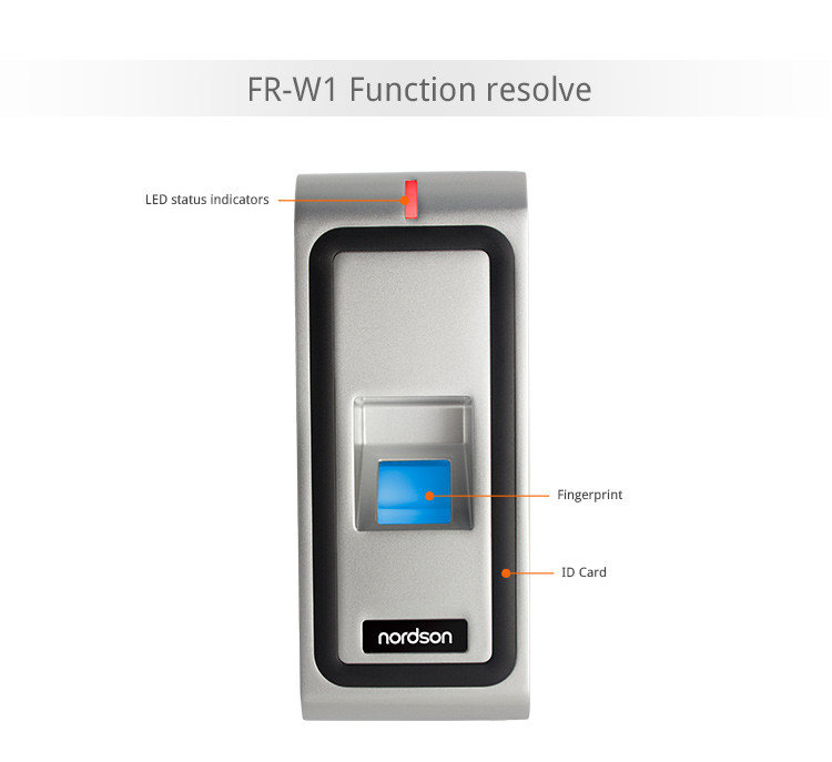 Outdoor IP65 Waterproof Biometric Fingerprint Door Access Control with RFID Card Reader ( FR-W1 )