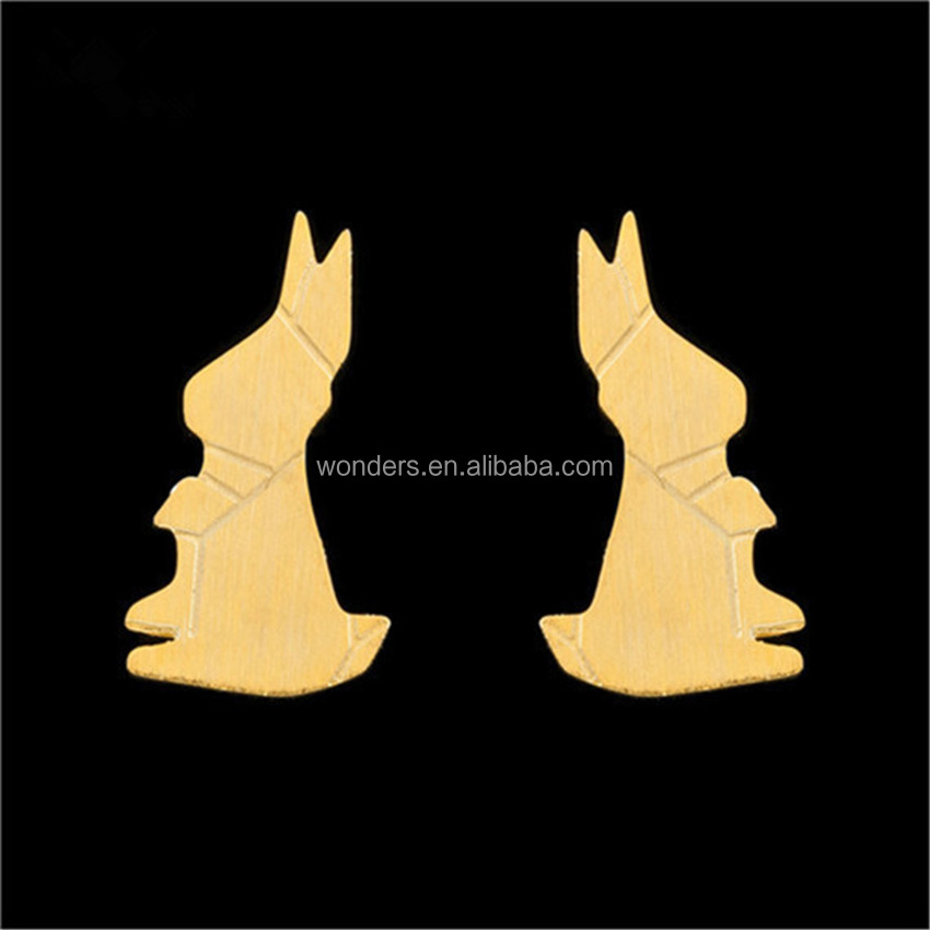 Cute Origami Rabbit Animal Earrings Women Fashion Jewelry Small Ear Studs Stainless Steel Jewellery