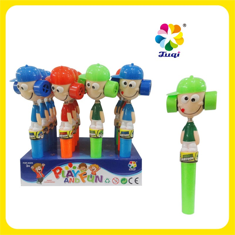 Cartoon figure Plastic Toy Candy with Colorful Stick