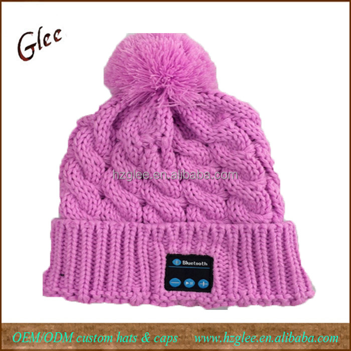 New Winter Pure Color Knitted Intelligent Womens Headphones hats