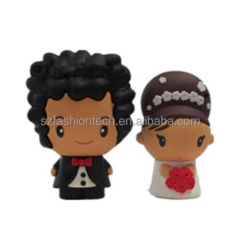 Novelty wedding gifts usb pen drive memory stick, bride and groom usb flash drive