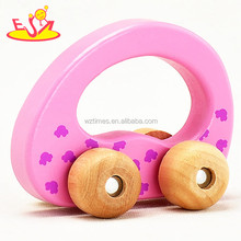 2017 hot sale baby pink wooden car toy W04A183A