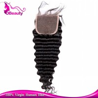 Brazilian Hair Invisible natural part hair lace closure with deep wave style closure
