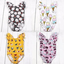 Flutter sleeve girls ruffle leotards bulk wholesale clothing pretty baby ruffle rompers