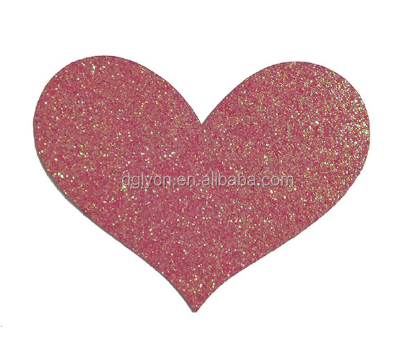 Factory direct supply iron on heart glitter patches qpplique