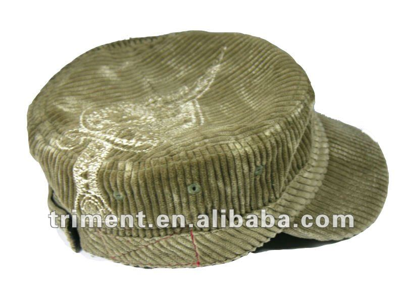 Cotton corduroy distressed vintage military hat