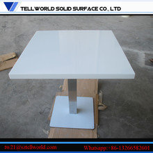 White Marble Table Top Square Stainless Steel Base Restaurant Dekorasyon
