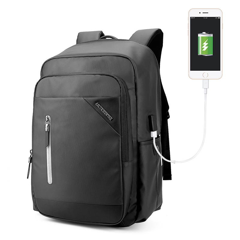Business Water Resistant Polyester Laptop Backpack with USB Charging Port fo maleman