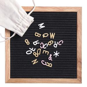 (Plastic Stand) Wood Frame Felt Letter Message Board Sign with 338 Letters10x10 inch Black