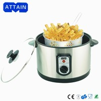 easy use 2 liter multipurpose deep fryer with glass lid