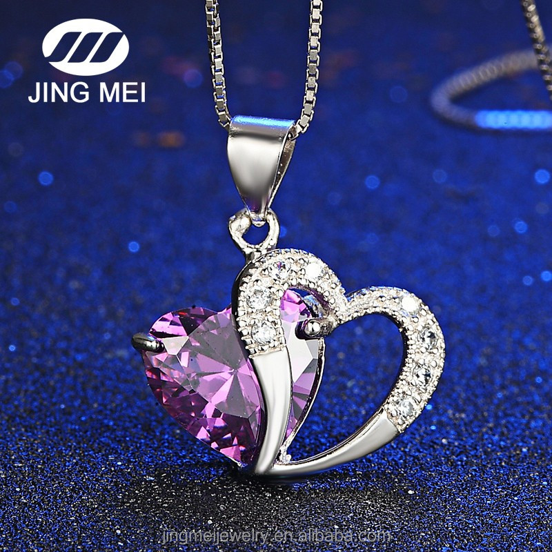 Alli Express Wholesale silver big stone jewelry design heart pendant necklace Without chain