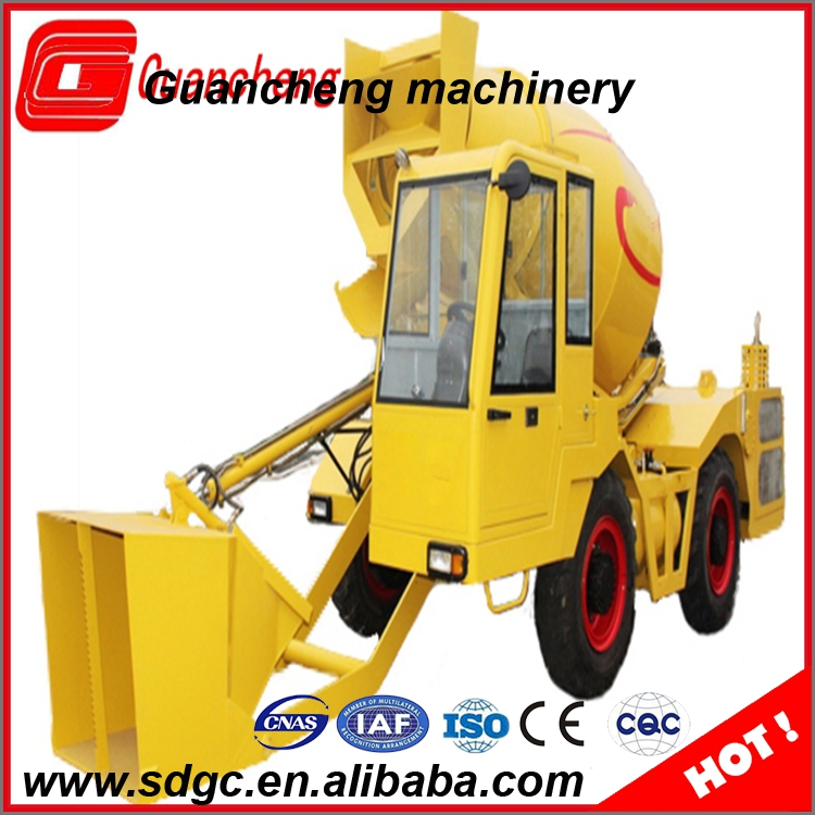 High portable cement mixer truck concrete mixer machine with self feeding for sale