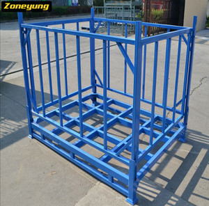 Foldable metal stacking rack for fabric rolls