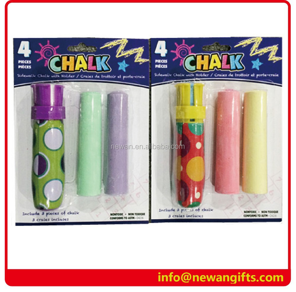 1 pc Chalk Holder and 3pcs Jumbo Sidewalk gym Chalk