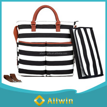 Custom fashion stripe mummy bag baby diaper bag with changing mat