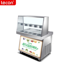 Single/ double compressor fried rolled ice cream machine with light billboard