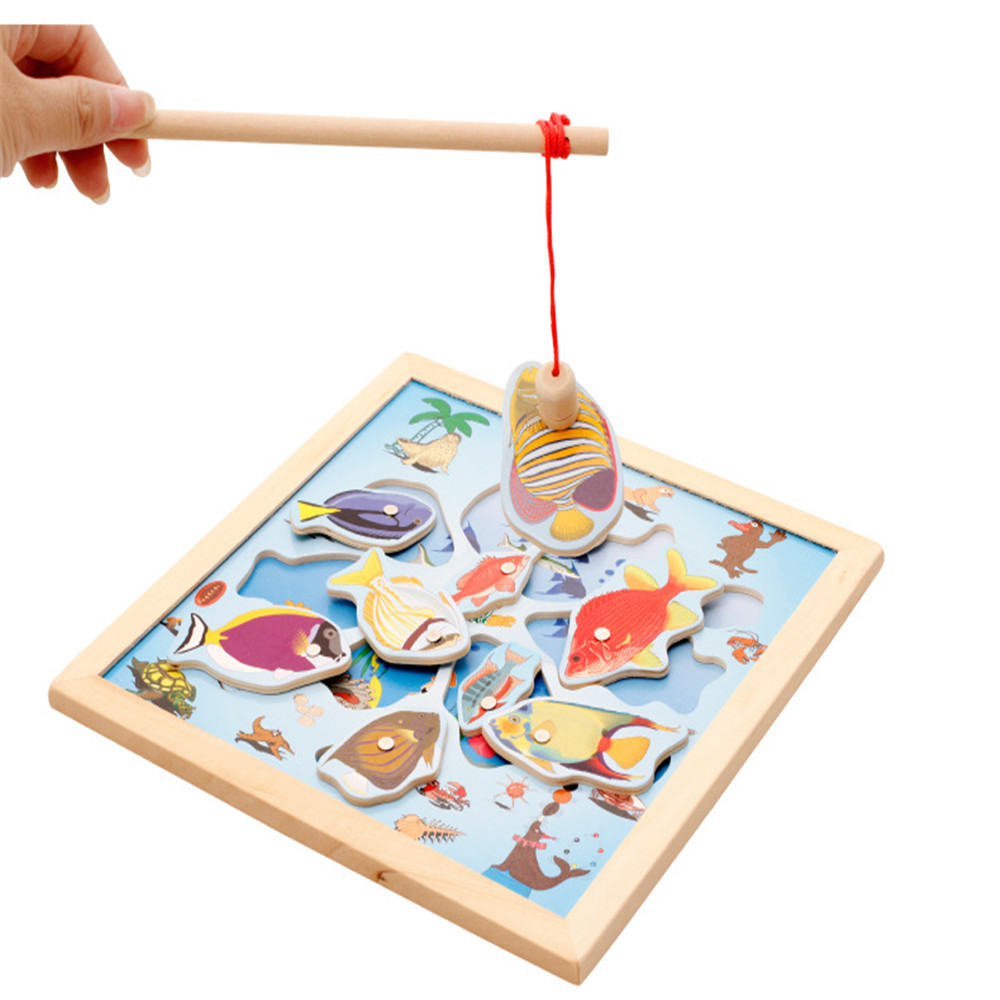 New Arrival Popular Fishing Toys Educational Magnetic Wooden Puzzle