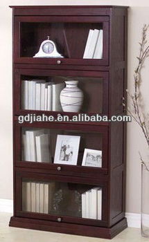 MDF bookcase with glass doors ,home furniture wood bookcase, wooden bookshelf