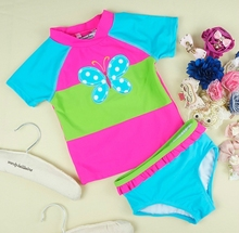 Best Selling Sweet Two Piece Set Floral Design 82% Nylon18% Spandex Baby Kids Girl Swimsuit Child Swimwear