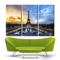 Canvas Art Home Decor Oil Painting 3 Panel the Eiffel Tower on Night Falls Landscape Printing on Canvas at Home Cuadros Modernos