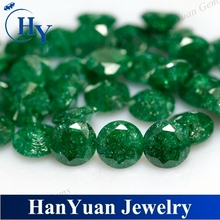 6mm round cut green color ice crack cubic zirconia stones