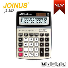 Wholesale JOINUS Promotion Cheap Price Custom 12 Digits Dual Power Electronic Desktop Solar Calculator For Student
