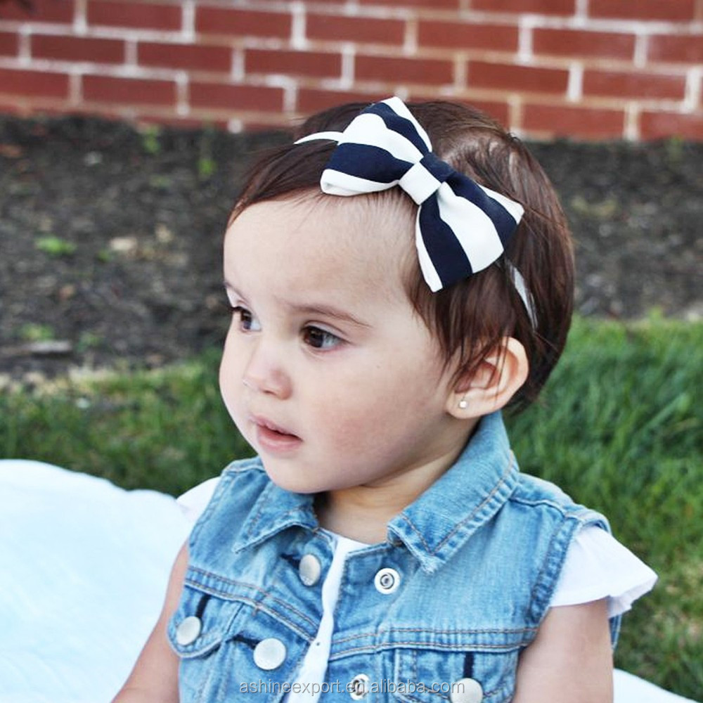 2015 fashion lovely stripe and dot bows headhand high quality cloth baby headhand --many colors